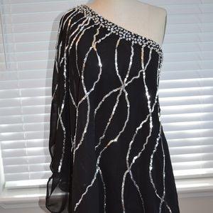 One shoulder Black w/ Silver Sequin cocktail dress